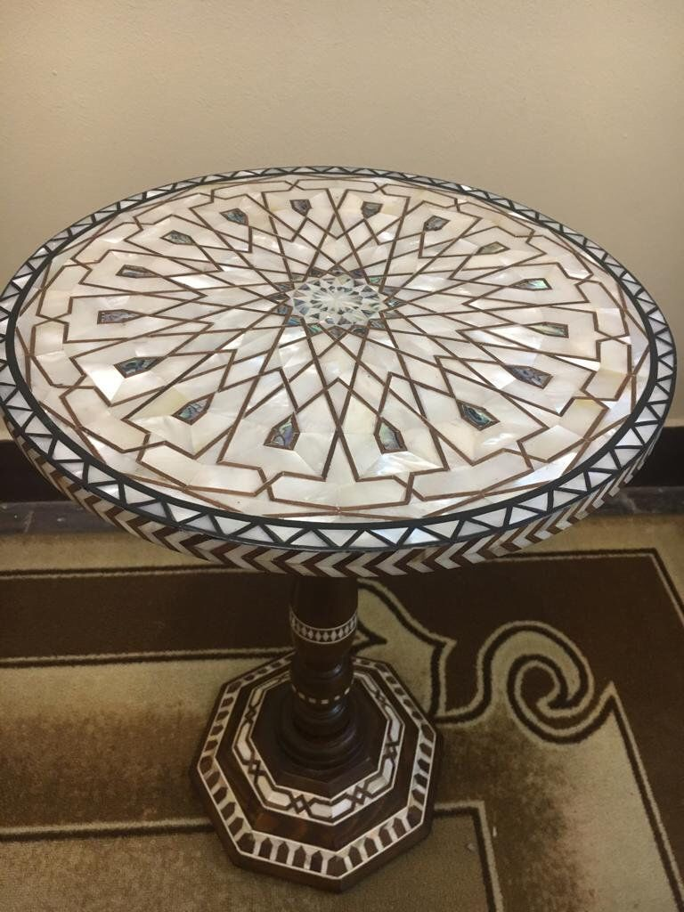 High Precision Egyptian Beech wood Inlaid Mother of Pearl Round ...
