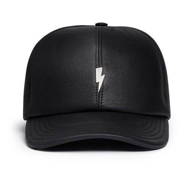 fef6e33a5 Neil Barrett Thunderbolt bonded leather baseball cap ($355) ❤ liked ...