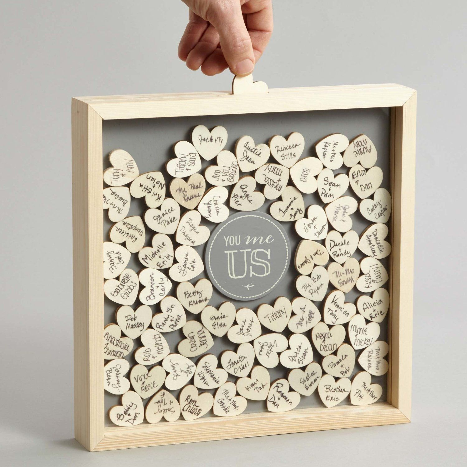 This You Me Us Guest Book Shadow Box is so much more fun than a flat wedding guest book ...