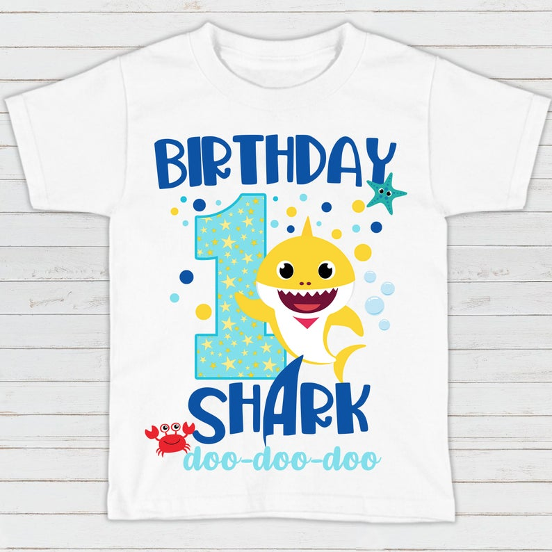One Year Old Toddler T-Shirt 1st Birthday Boy Gifts Baby Shark 1st Birthday Shirt Boy 1st Birthday T-Shirt