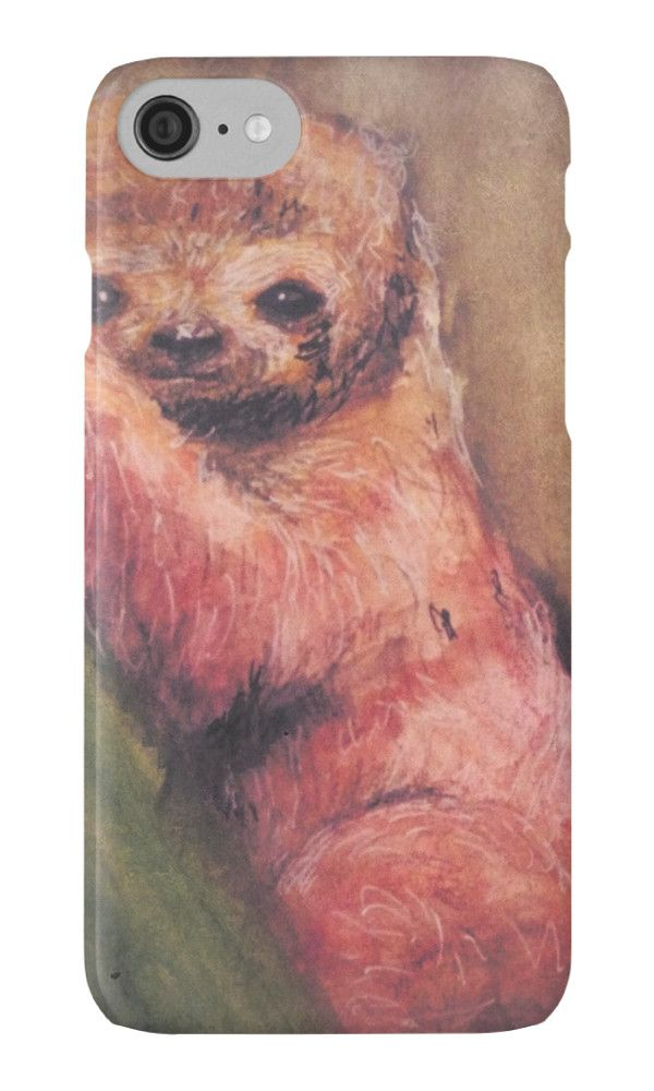 Baby Red Sloth painting on iphone case by Harker Shaw, gift idea for christmas presents