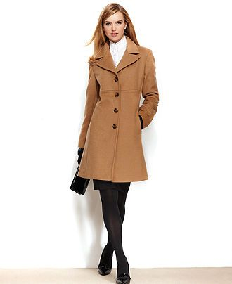 Larry Levine Petite Coat, Wool-Blend Classic Walker - Petite Coats ...