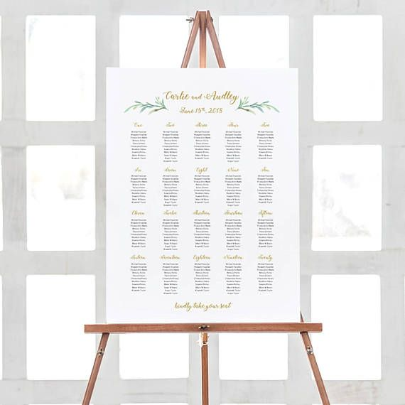 Greenery Wedding Seating Chart Table Plan Templates 18x24 And A2 Portrait Landscape Shaped Included Edit In Word Or Pages