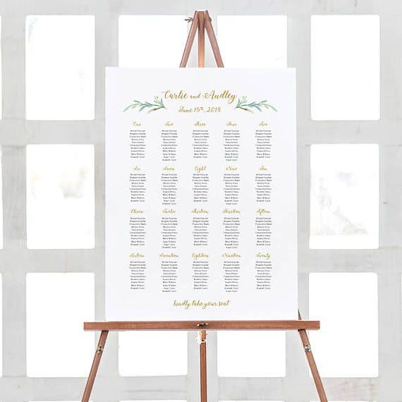 greenery wedding seating chart table plan templates 10 sizes