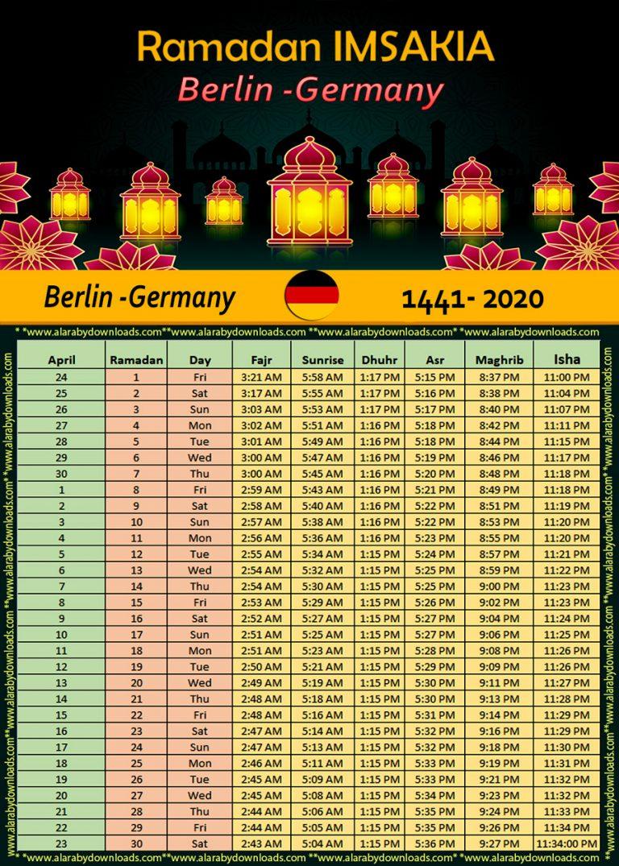 تحميل امساكية رمضان 2020 برلين المانيا 1441 Ramadan Imsakia Berlin Germany Berlin Germany Ramadan Berlin