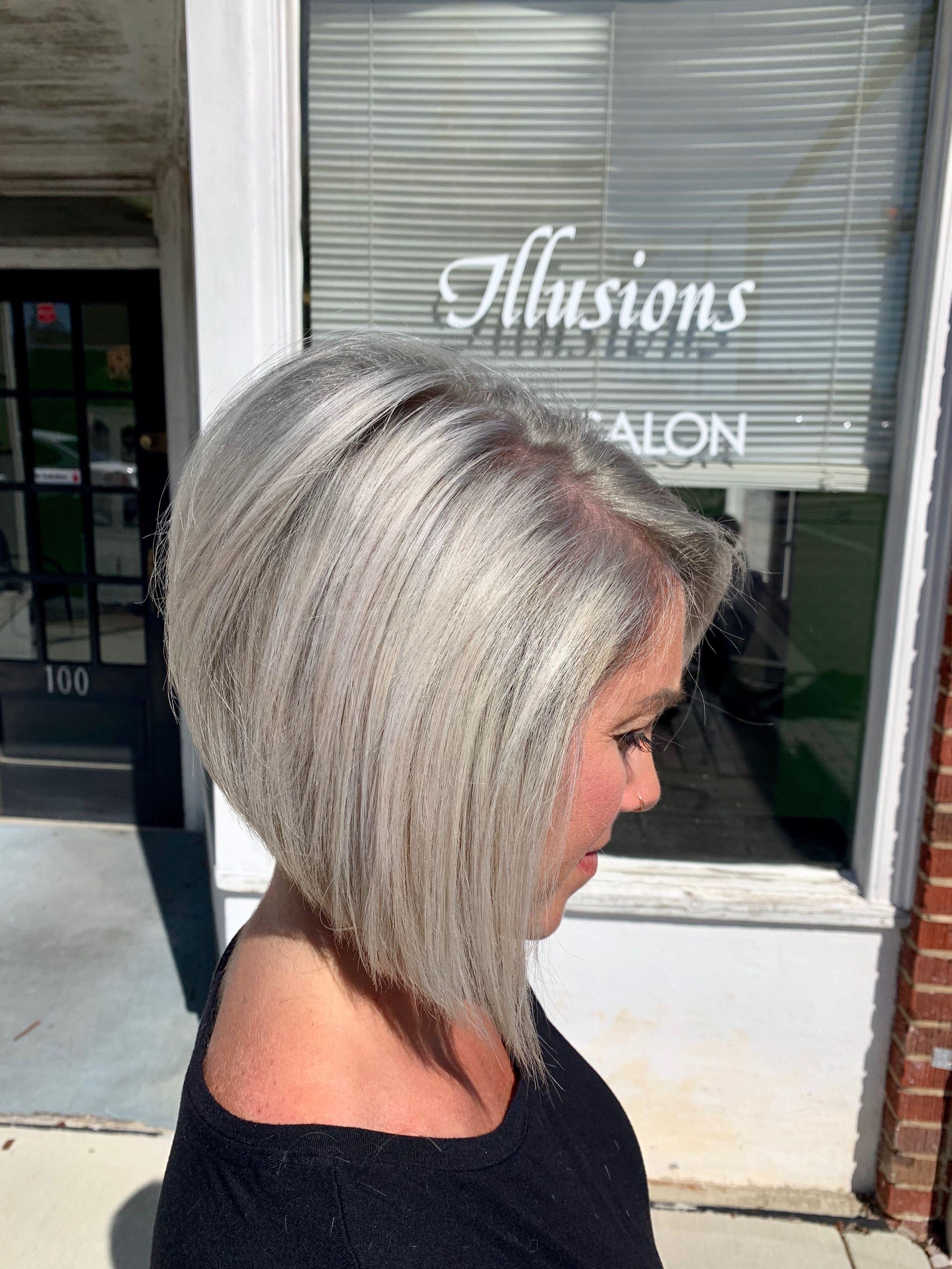 Silver Blonde Aline Bob Aline Bob Bob Hairstyles Stacked Bob Haircut