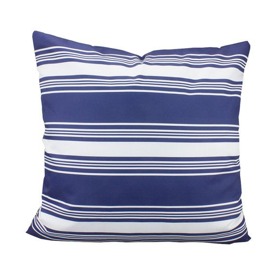 Navy and White Striped Pillows Cover nautical by RiverOakStudio