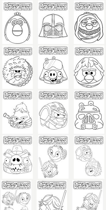 Crafty Party Angry Birds Star Wars Star Wars Coloring Sheet Star Wars Crafts Angry Birds Star Wars