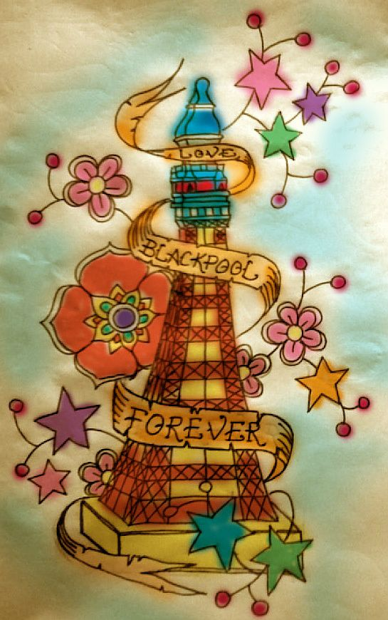 Borntotattoo coloured up blackpool tower tattoo design for Tattoo shops junction city ks