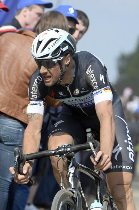 Paris-Roubaix 2014 - Belgium's Tom Boonen (Omega Pharma-Quick Step) rides through a cobblestoned section.