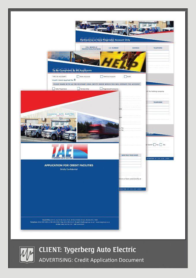Advertising Credit Application Document  Tygerberg Auto Electric