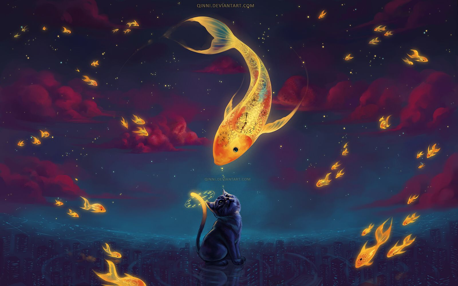 To Catch The Moonfish by Qinni | Cat art, Art, Cross paintings
