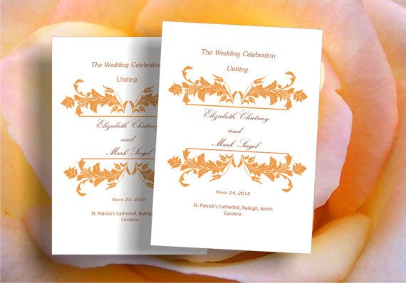 Printable wedding ceremony programme template gold floral by Oxee, $8.00