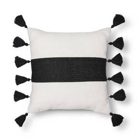 Threshold Striped Tassel Pillow Black Window Shopping Bedding Target Pillows Black White Cushions Blue Pillows
