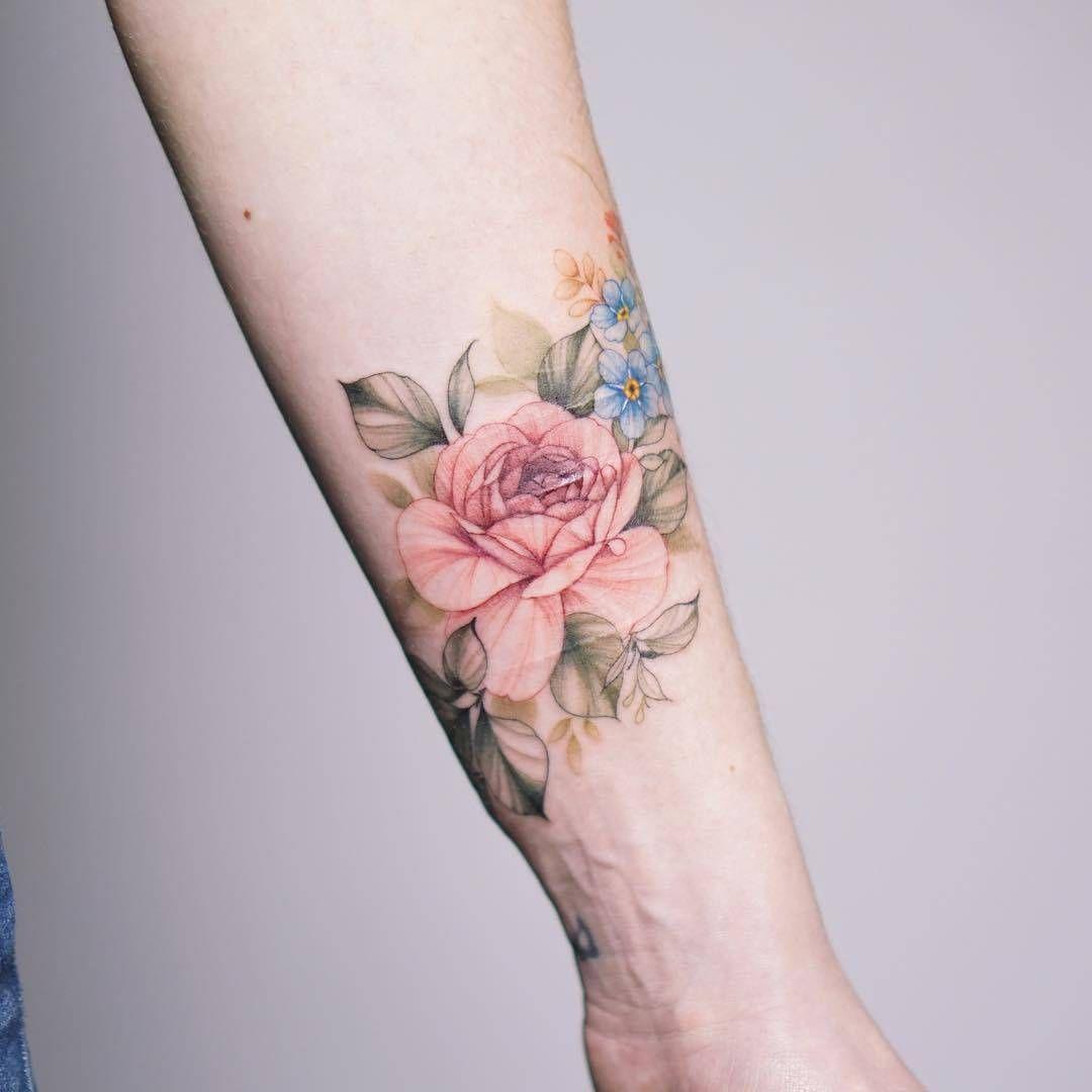 Gentle Flowers Tattoo By Silo Vintage Flower Tattoo Watercolor Tattoo Sleeve Watercolor Tattoo Flower