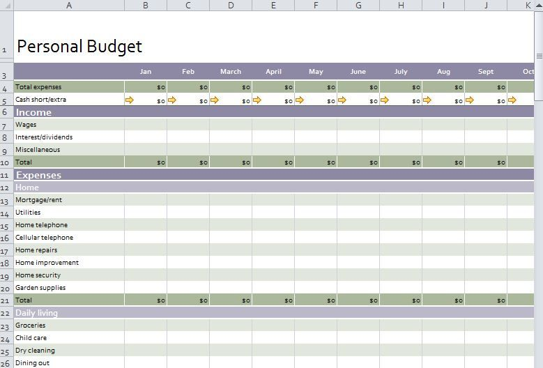 personal budget worksheet excel budget templates pinterest