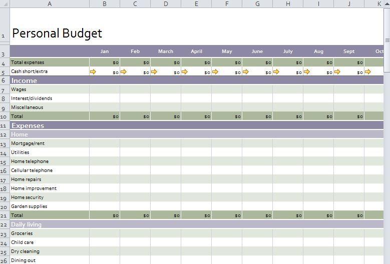 personal budget worksheet excel budget templates pinterest