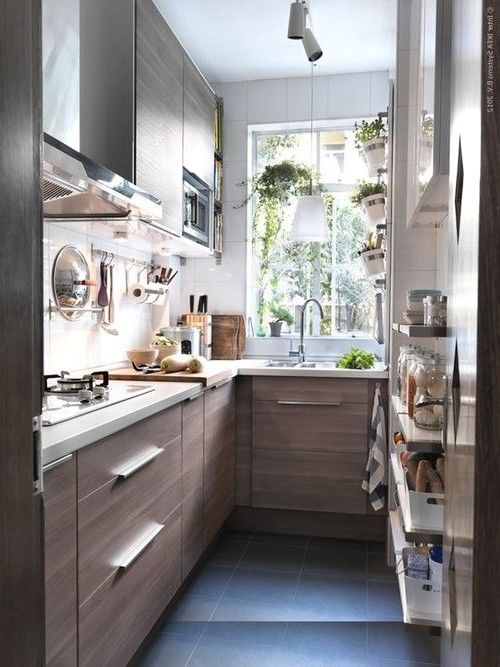 Beautiful small kitchen on wooden theme small house - Kitchen designs for small kitchens ...