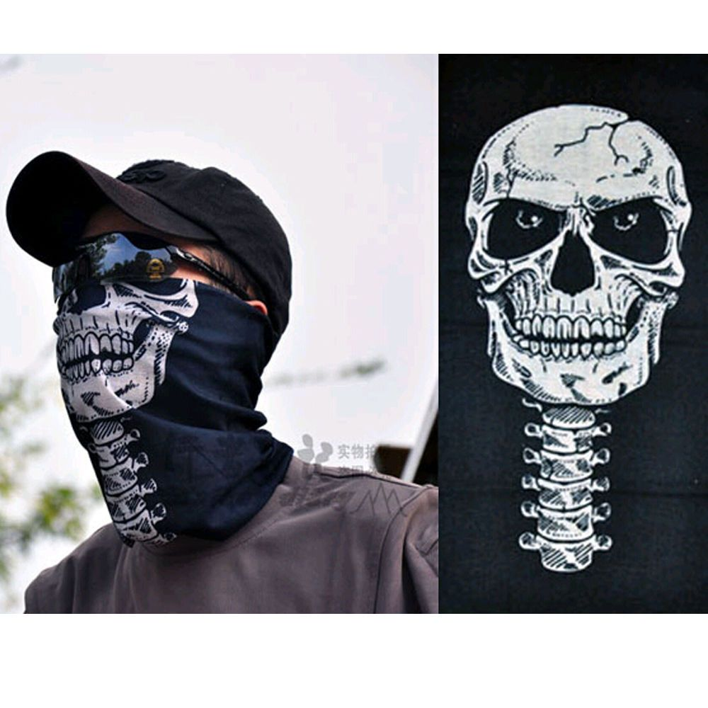 Skull Half Face Bandana Skeleton Ski Motorcycle Biker Paintball Mask Magic  Scarf