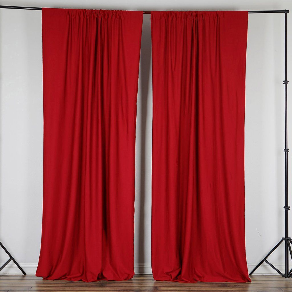 Pack Of 2 5ftx10ft Red Fire Retardant Polyester Curtain Panel
