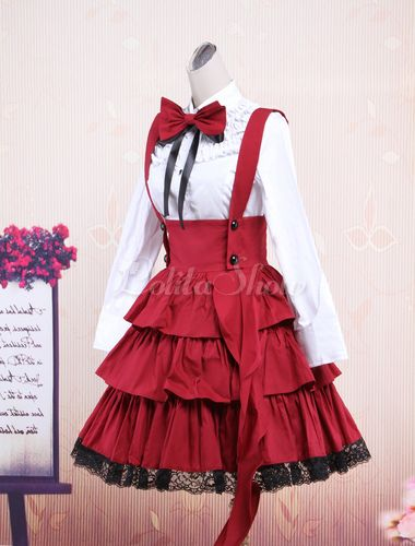 938554174a9 Cotton White Long Sleeves Blouse And Black Ruffles Lolita Skirt Outfit -  Lolitashow.com
