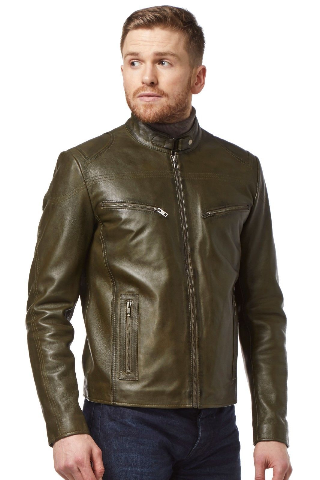Speed Men S Real Leather Jacket Olive Green Washed Biker Motorcycle Style Sr 02 Ebay Olive Green Leather Jacket Leather Jacket Men Leather Jacket [ 1600 x 1066 Pixel ]