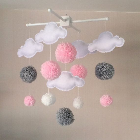 Baby mobile - Cot mobile - clouds and pom poms - Cloud Mobile - Baby
