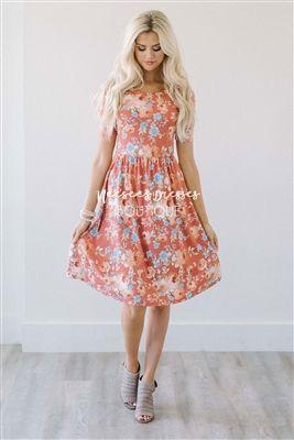eedea6af85d Rust Sky Blue Cream Floral Modest Summer Dress