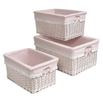 Basket Set With Pink Liners.. Cute Baskets To Fill With