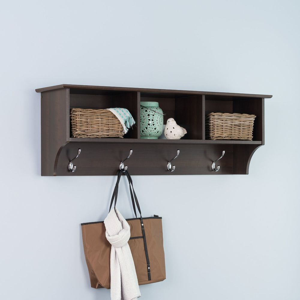 Coat Rack Wall Mounted With Shelf Entryway Hooks Storage Mudroom