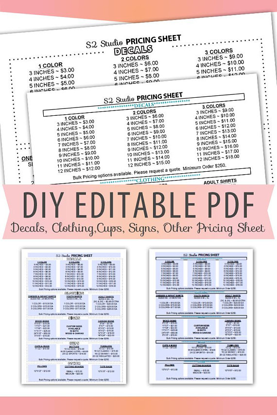 Vinyl Decals Pricing Sheet Editable Pdf Letter Size Forms Sales Sheet Orders Blank Custom Clothing Cups Signs Instant Do Cricut Tutorials Custom Forms Vinyl