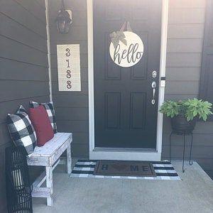 Door Hanger, Welcome Sign, Front Door Decor, Year Round Wreath, Modern Door Hanger, Door Decor, Wood Door Sign, Front Door Sign, Brown Stain