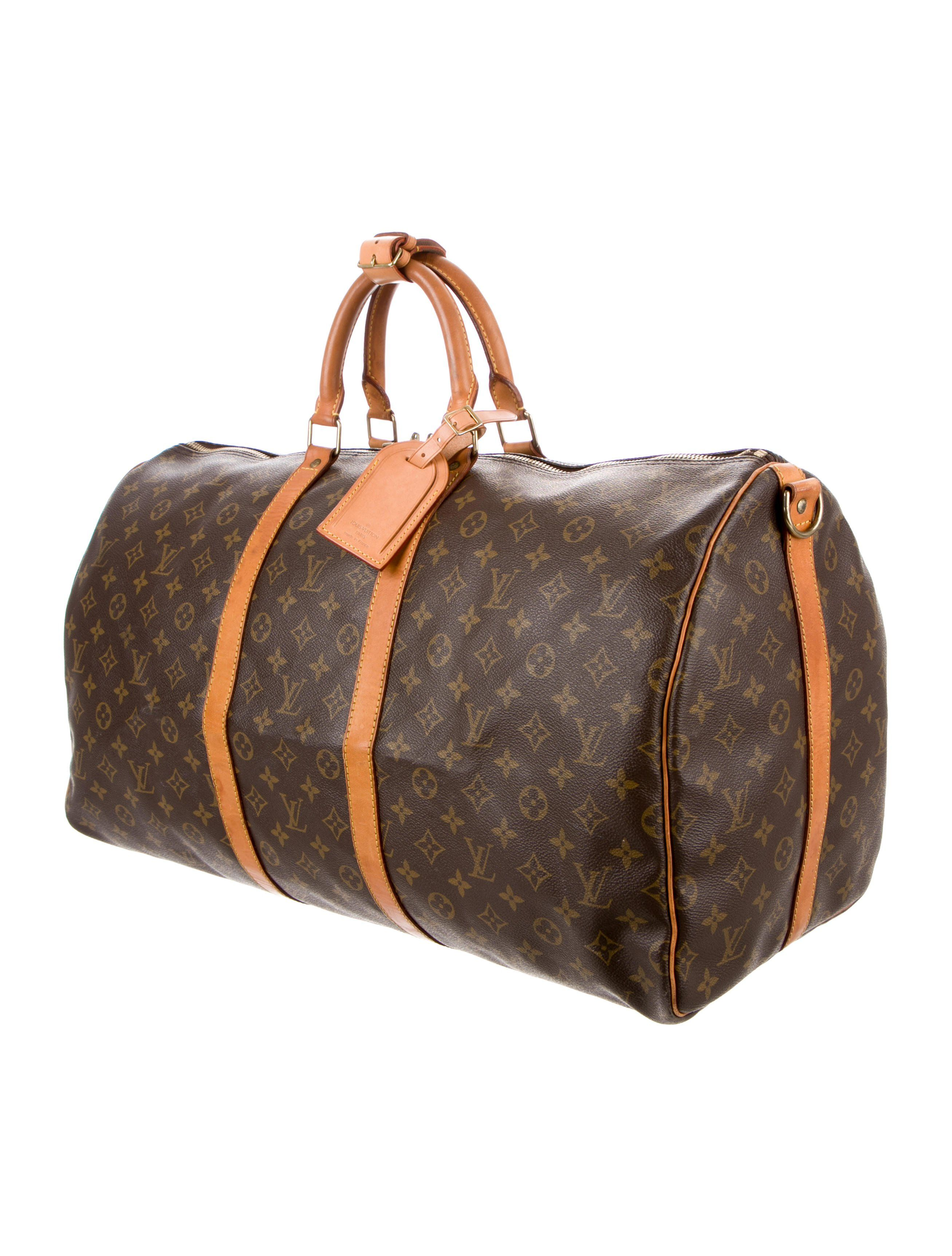 78d25296fcbc Brown and tan monogram coated canvas Louis Vuitton Keepall Bandouli¨¨re 60  with brass