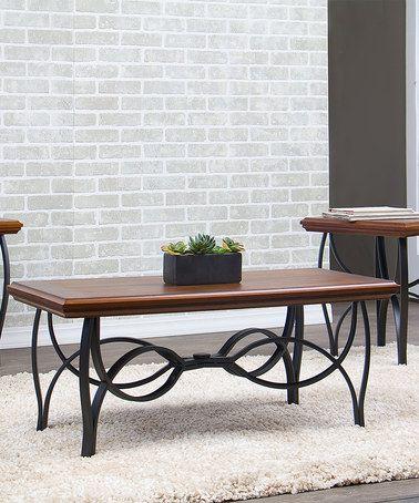 Loving this Brown & Black Three-Piece Archipelago Wood Table Set on #zulily! #zulilyfinds..for Gavin's apt