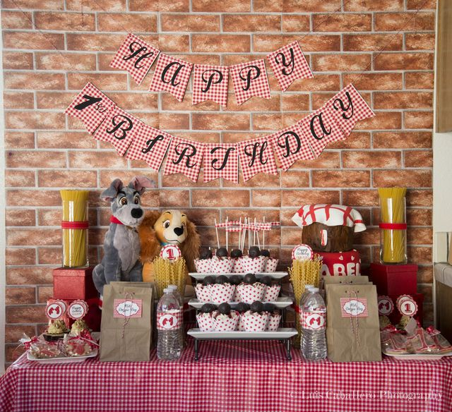 Fantastic Lady and the Tramp party.  See more party ideas at CatchMyParty.com.  #ladytramp #partyideas