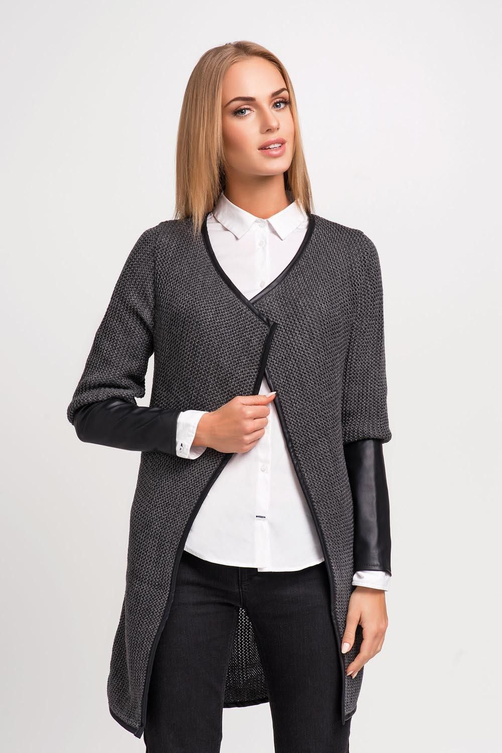 Dark Grey Stylish Cardigan With Eco-Leather Piping And Sleeves ...