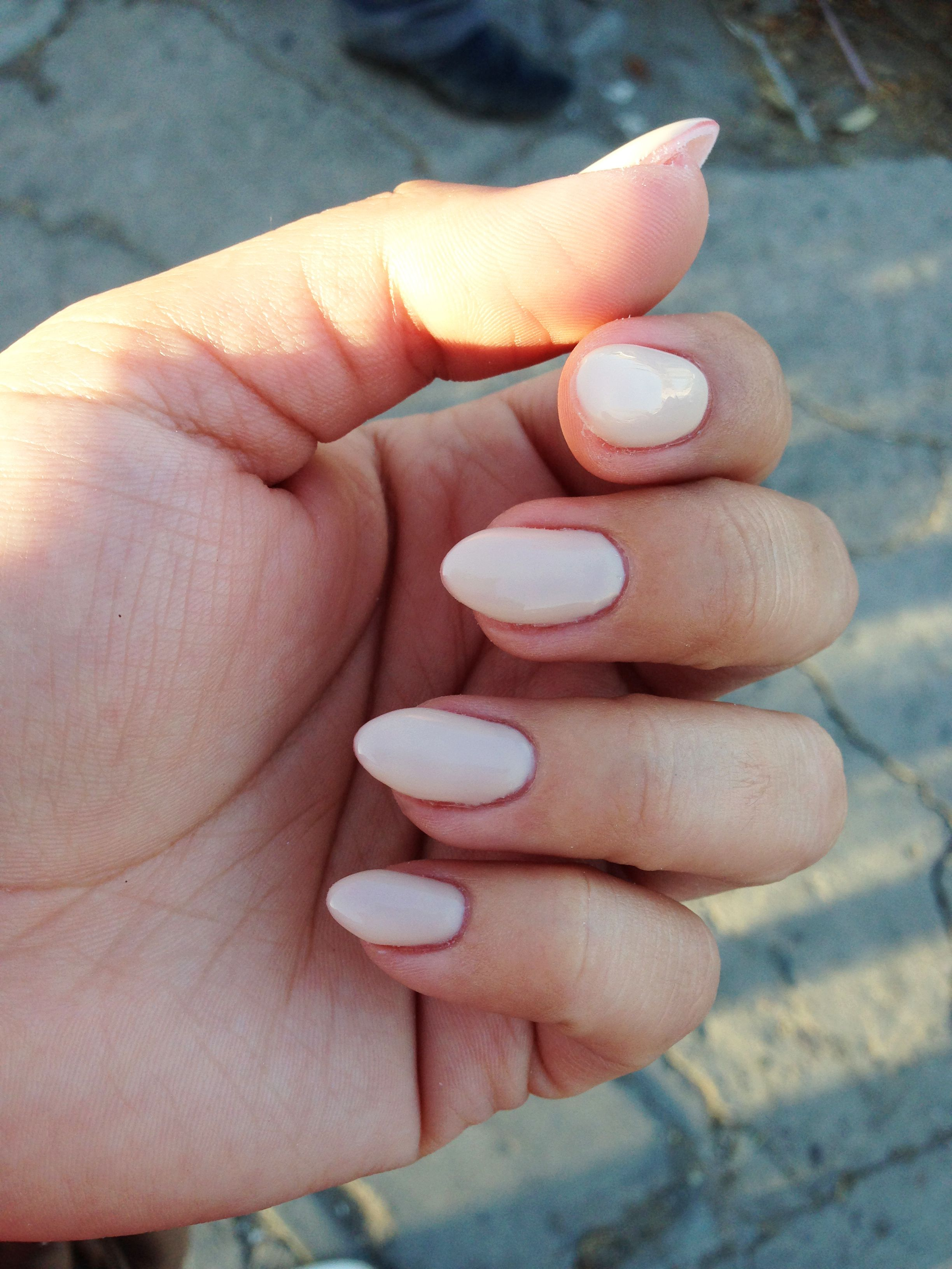 Just did my nails, love them! Nude short almond nails | Nails ...