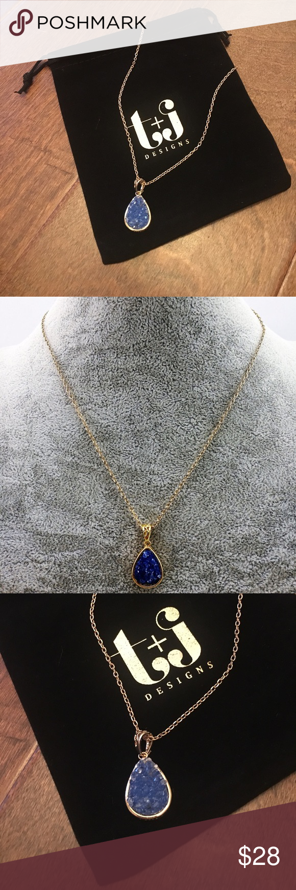 tj Designs Blue Druzy necklace Boutique Gold Drop and Fashion