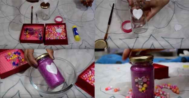 Make glittery jars to decorate your shelf.