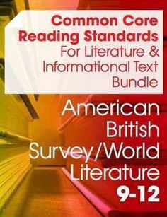 Now with resources to meet the Common Core reading standards for both Literature AND Informational Texts in a high school English course, this set includes suggested readings for each anchor standard, graphic organizers, overview handouts, as well as extension assignments and essays. $