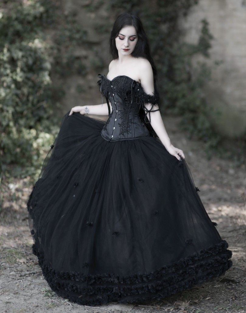 Romantic Black Gothic Flower Off The Shoulder Corset Prom Ball Gown Long Dress Gothic Prom Dress Goth Dress Goth Prom Dress [ 1031 x 809 Pixel ]