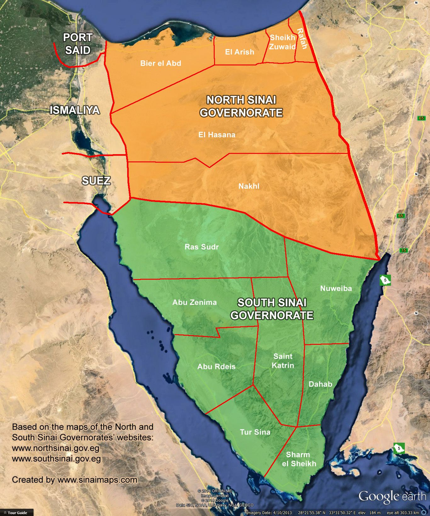 Governorates in the Sinai Peninsula, Egypt | What\'s Going On? | Map ...