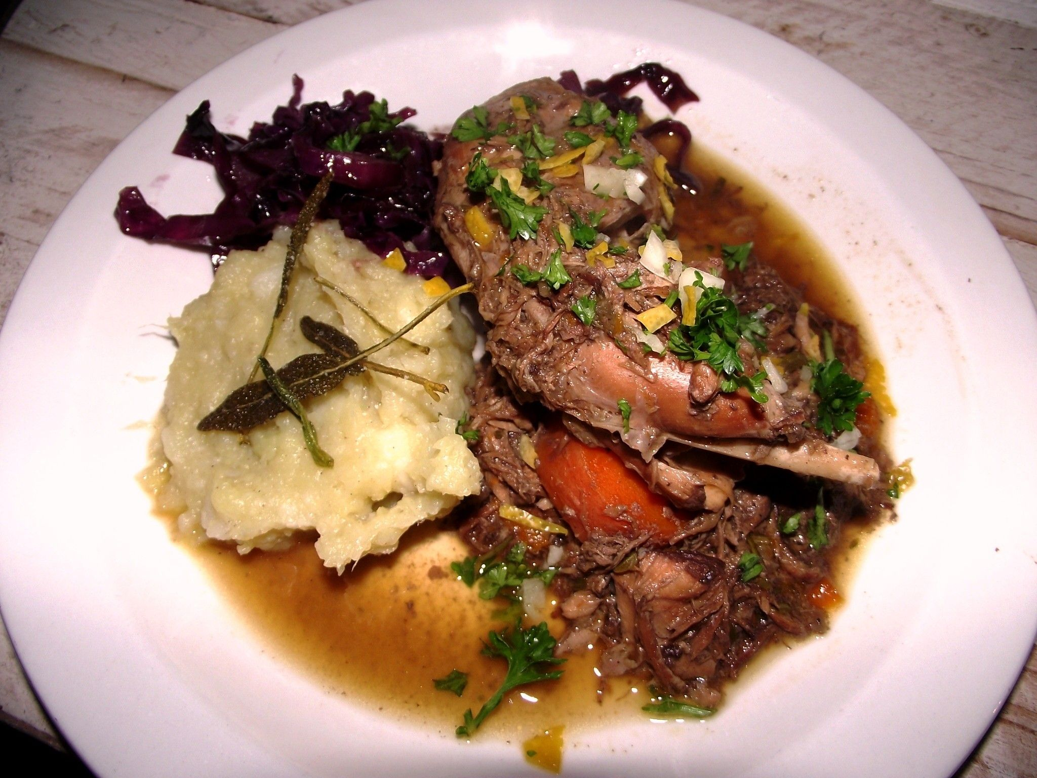 Braised Rabbit, Sweet potato, red cabbage. BLOG The