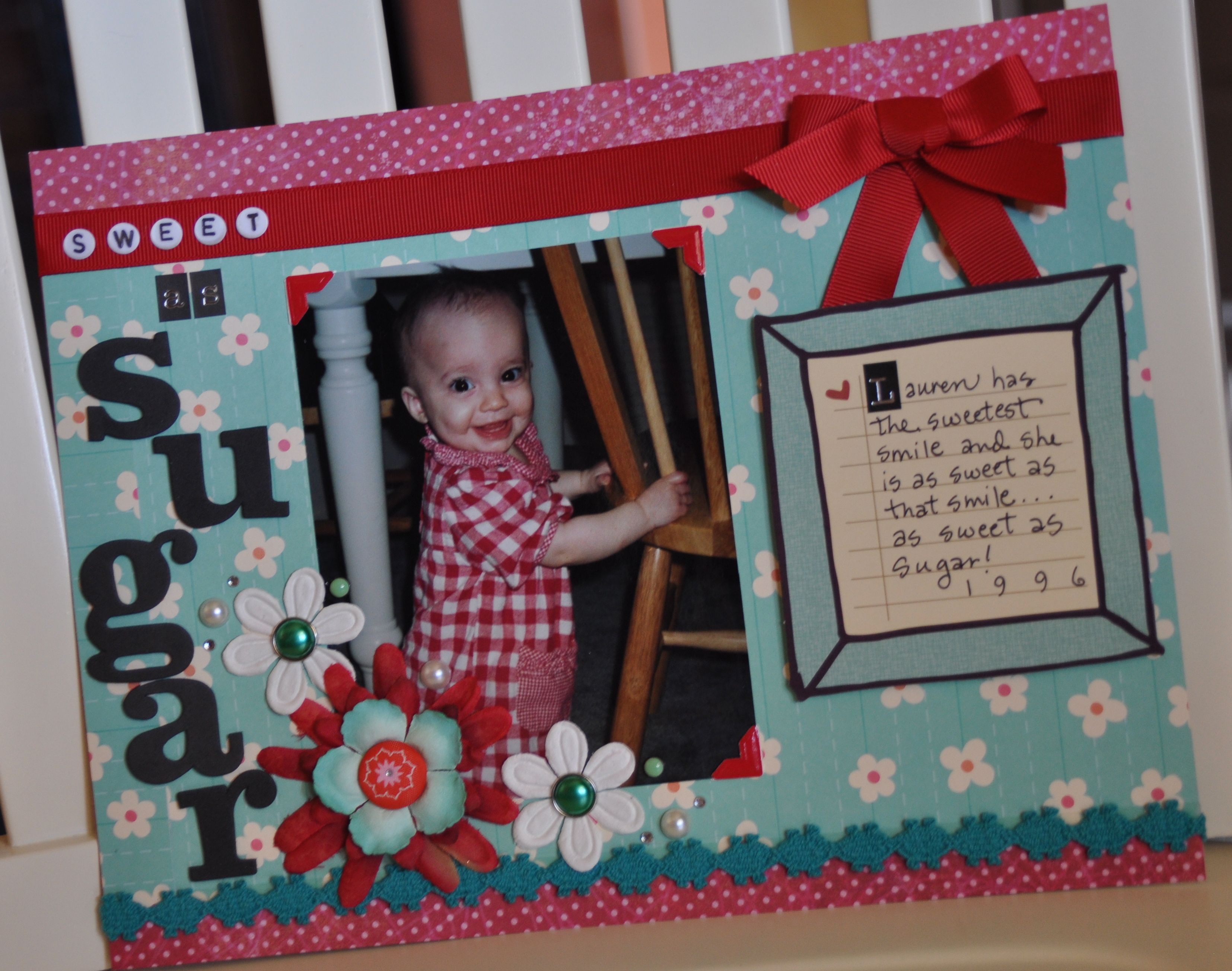 Scrapbook ideas with ribbon - Crafty Polly Scrapbook Layout Using Another Fave Color Combination Ribbon And Fun Trims Are