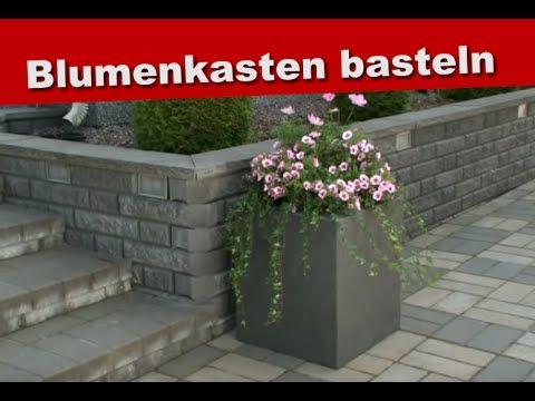 Basteln mit Styropor, Ideen - Blumenkasten selber bauen - sichtschutz beton selber machen
