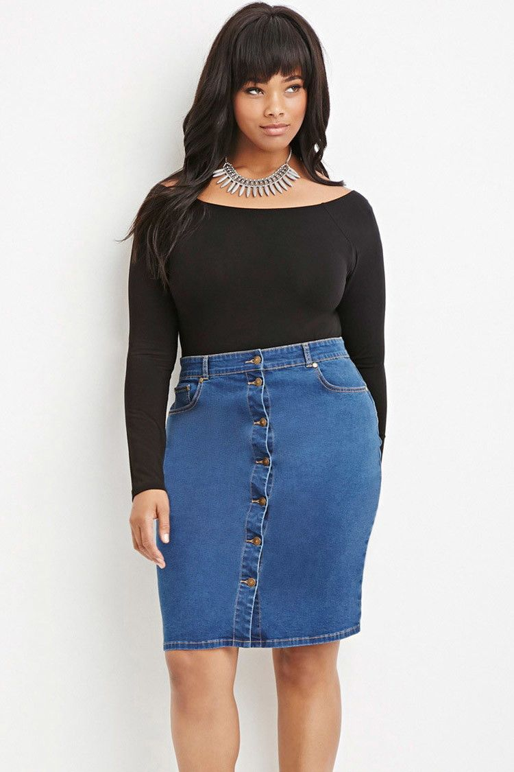 a8fa110e18 Plus Size Button-Front Denim Skirt | Rockin' Curvy Girl Street Style ...