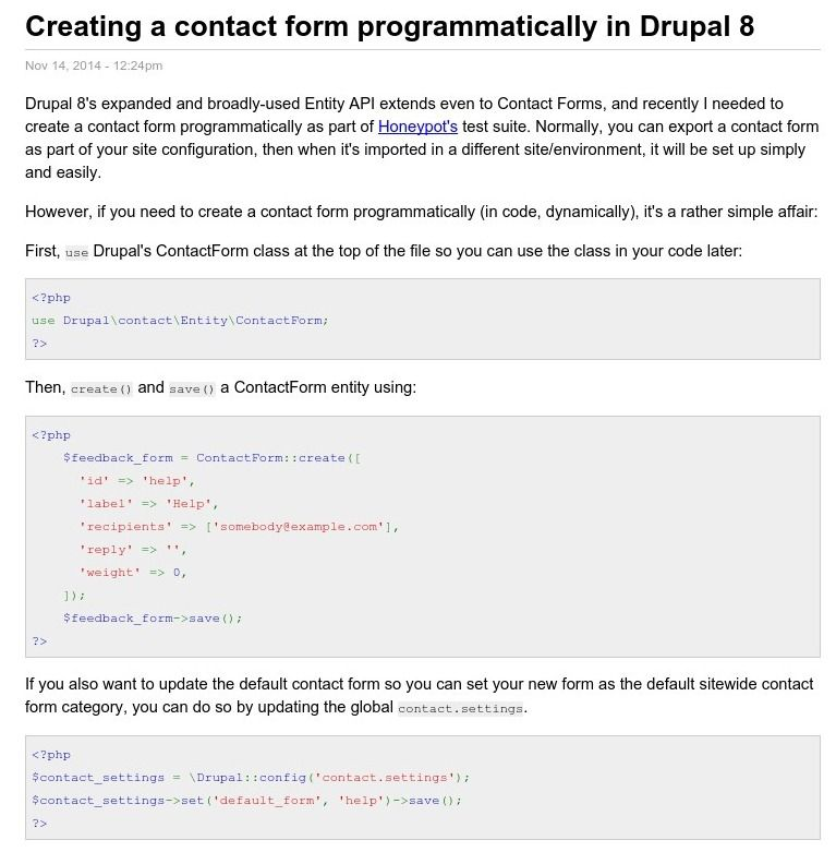 Creating a contact form programmatically in Drupal 8