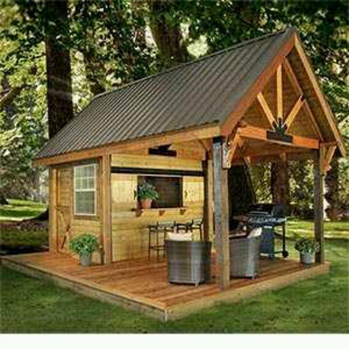 Party barbecue shed for the back yard outdoor living for Garden shed small space
