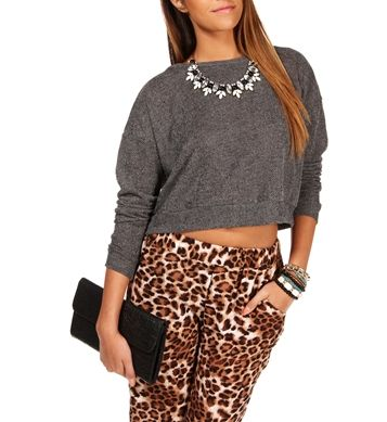 Black Crop Sweatshirt Top