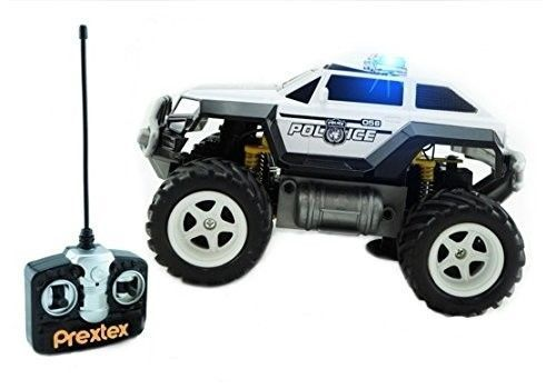 Prextex Remote Control Monster Truck Light Radio Police Car Toys Rc Vehicle Kids Police Truck Toy Police Cars Radio Control
